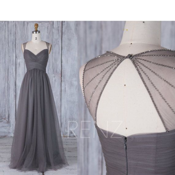2017 Charcoal Gray Bridesmaid Dress, Ruched Sweetheart Wedding Dress, Bead Back Prom Dress, A Line Evening Gown Floor Length (JS205)