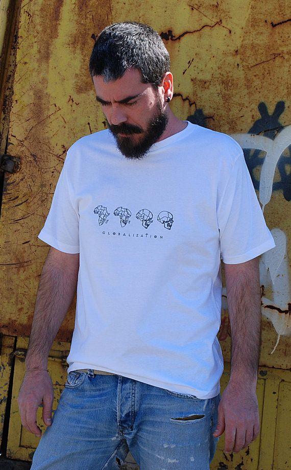 Globalization  printed on White color  Men's 100% by theBADINK