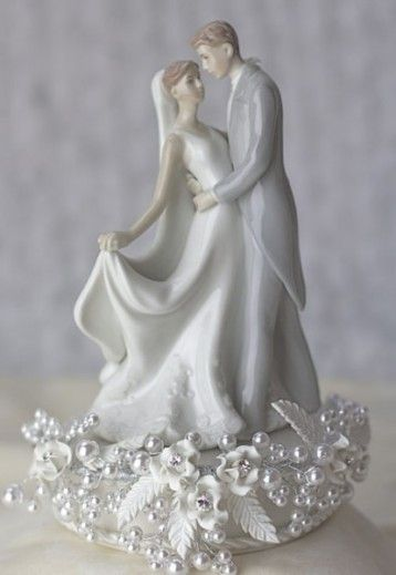 Rose and Pearls First Kiss Wedding Cake Topper - Traditional Wedding Cake Toppers - Cake Toppers
