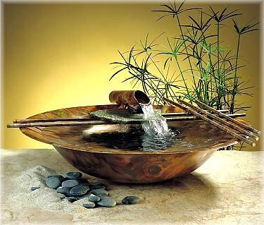 Introducing the Nature Bowl with Copper and Slate from Exalted Fountains. The Nature Bowl is handmade in copper. Accent your space with the peaceful sound of water gently flowing from a copper pipe and over natural stone into the pool of water below.