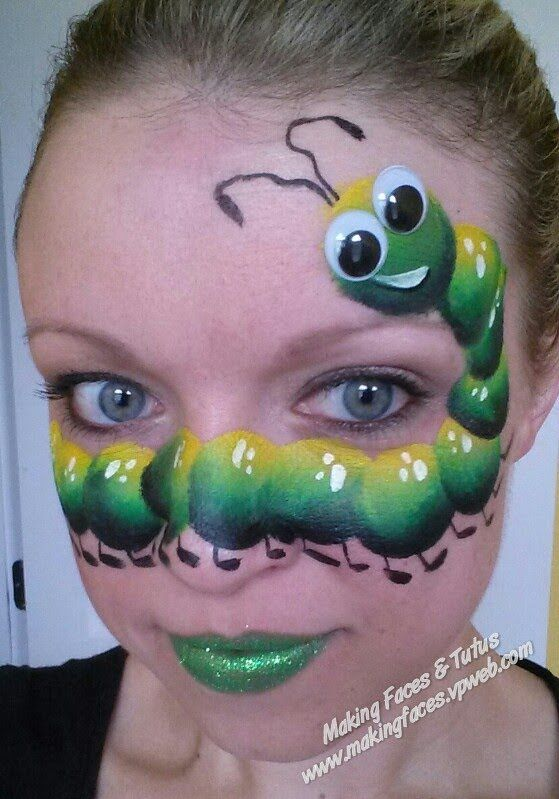 silly caterpillar face painting tutorial by cameron