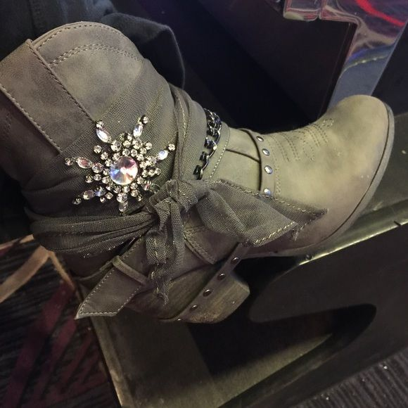 Not rated boots Grey shirt booties with boot bracelets bling and lace. Excellent condition. Not rated Shoes Heeled Boots