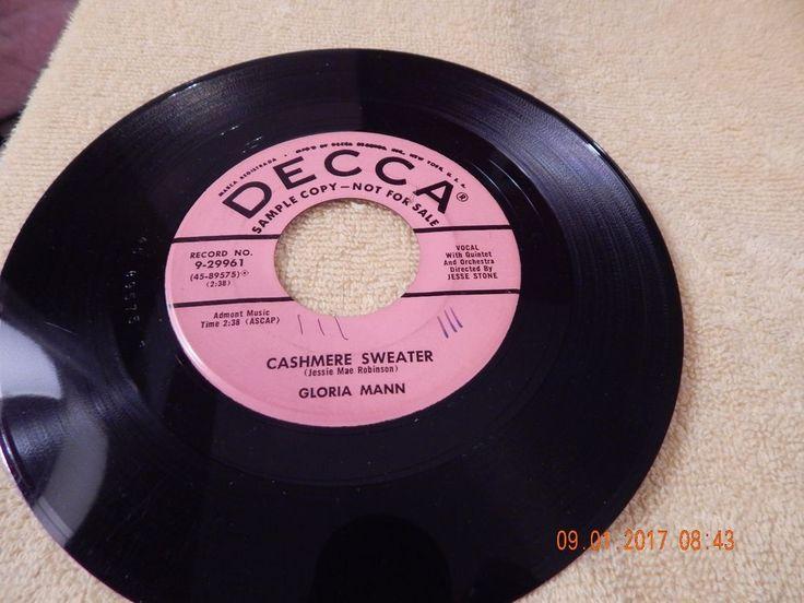 Gloria Mann : My Secret Sin / Cashmere Sweater 45 Rpm / Decca 29961 Promo #1950sPopRock