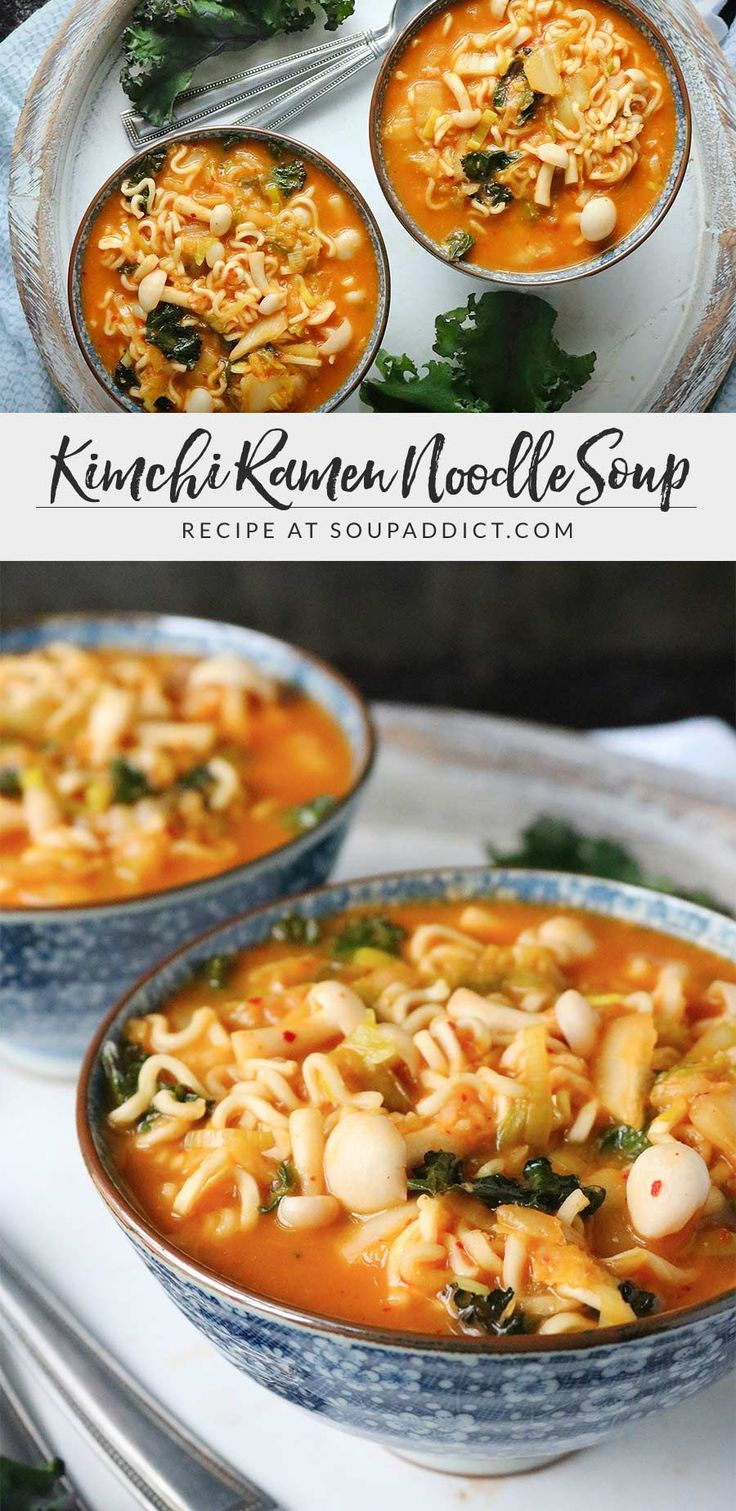 Kimchi Ramen Noodle Soup - so easy to put together, and so healthy and delicious, with miso, kimchee, mushrooms, and dark leafy greens. Recipe at SoupAddict.com | vegetarian soup | vegetarian soup recipes | vegan soup | miso soup | mushroom soup | ramen noodle soup | ramen noodle bowl | healthy soup