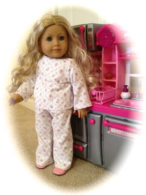 """A basic pajama pattern that fits American Girl Dolls and other 18"""" Dolls. Download for free and enjoy! Basic sewing skills needed."""