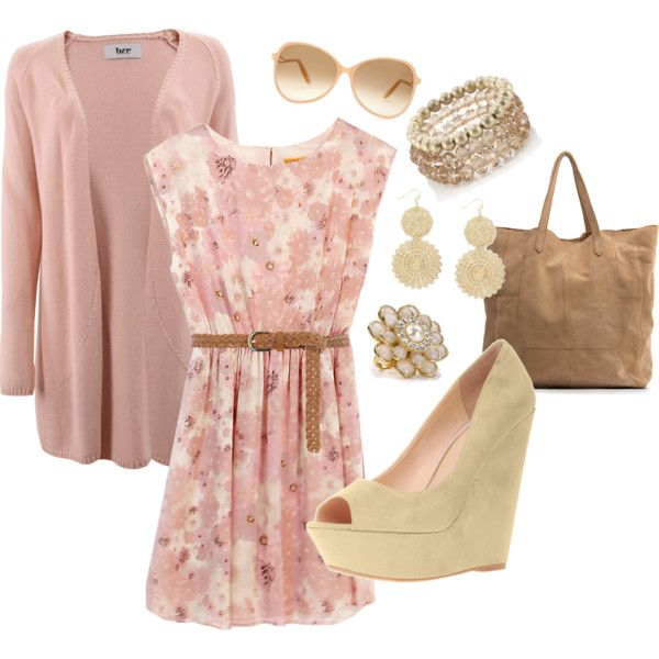 adorable spring dress with neutral accessories, created by hannah-waldhoff: Outfits Clothes Etc, The Dress, Spring Outfits, Pink Dress