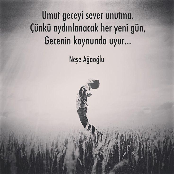 Umut geceyi sever unutma. Çünkü aydınlanacak her yeni gün, Gecenin koynunda uyur... - Neşe Ağaoğlu (Kaynak: Instagram - neseagaogluu) #sözler #anlamlısözler #güzelsözler #manalısözler #özlüsözler #alıntı #alıntılar #alıntıdır #alıntısözler #şiir #edebiyat