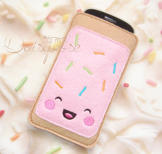 KAWAII POP TART phone case, fake food phone case, felt pastry case, device case, iphone case, phone carry case, shabby chic, pink, turquoise on Etsy, $10.99 AUD