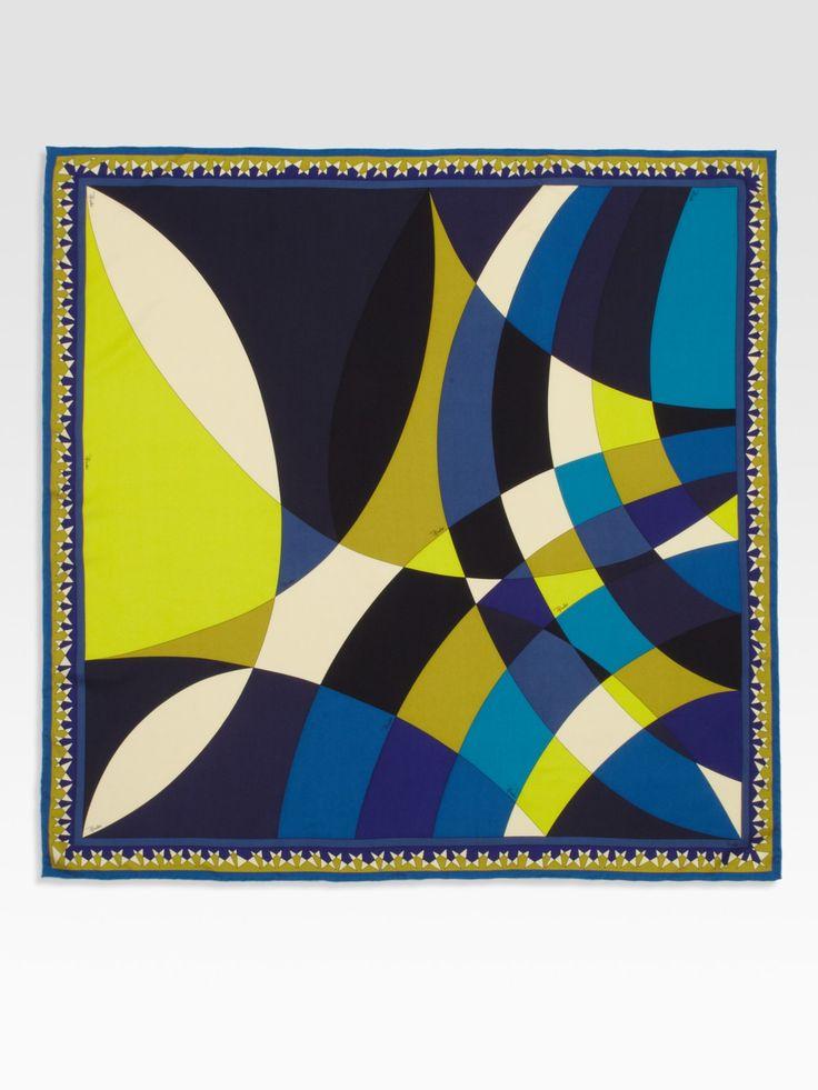 Emilio Pucci Fantasia Silk Twill Scarf in Multicolor (blue) | Lyst