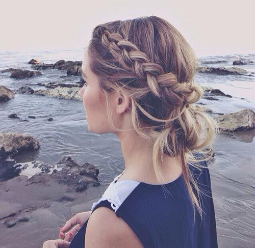 Messy French Braid Updo