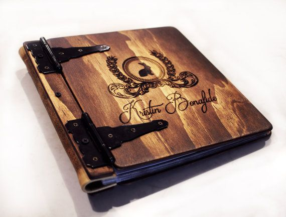 Monogram Photo Album, Wood & Leather Artist Portfolio, Rustic Wedding Guest Book Idea, Personalize Journal, Wood + Leather Photo Album Book