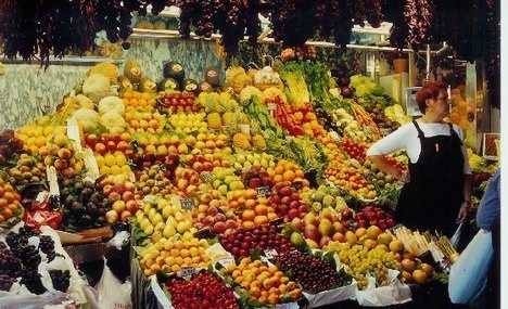 La Boqueria is Barcelona's most famous market. There you can find any kind of fresh food and many, many sweets