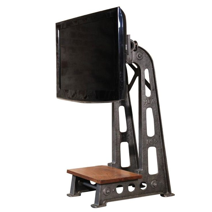 Flat Screen TV Stand Vintage Industrial Cast Iron Media Screen Display Table 1