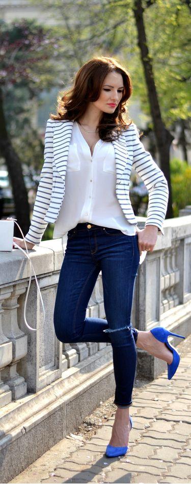 Striped blazer and pop of blue