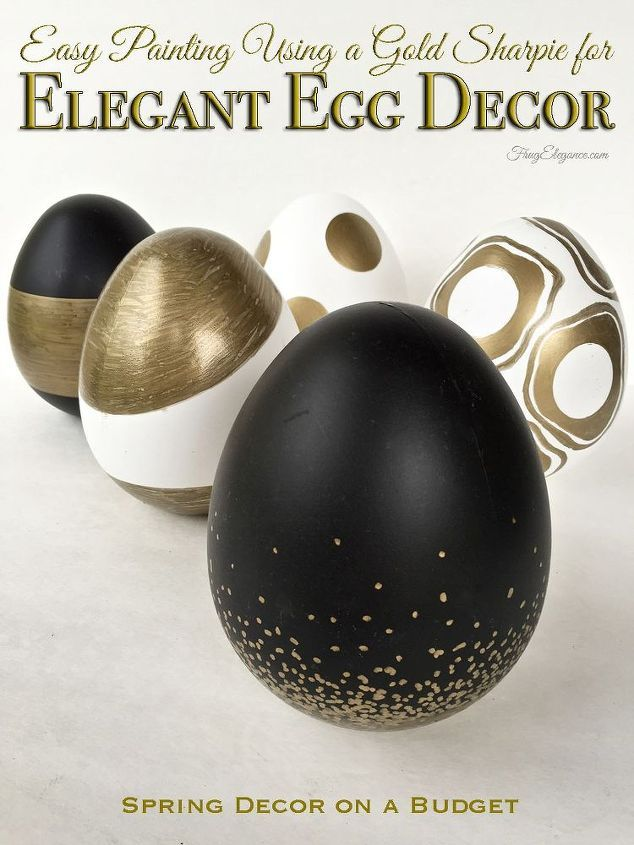Elegant gold striped, geometric and gently speckled Easter egg decor.