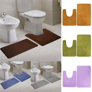 2pcs Super Absorbent Memory Foam Velure Toilet Mat Set Bathroom Rug Floor Feet Cushion