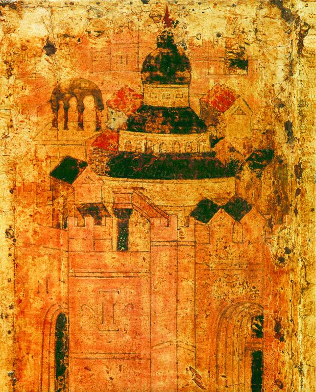 Фрагмент 1405 г.   Вход в Иерусалим.  Икона праздничного чина иконостаса