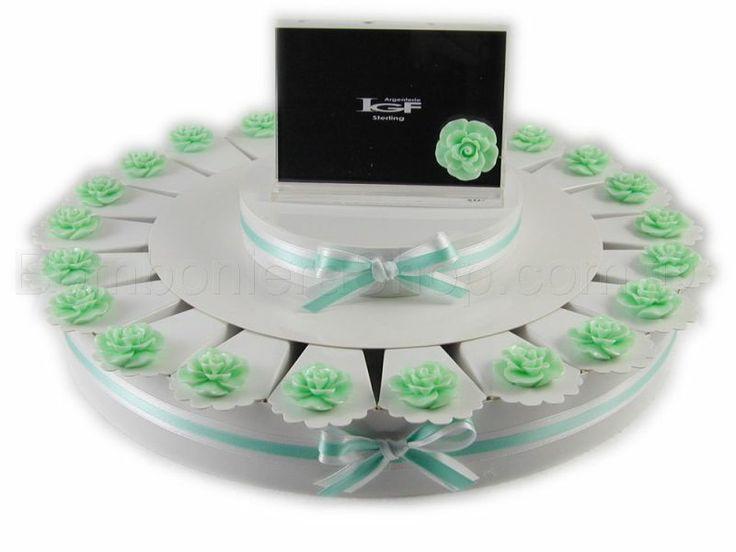 Torta bomboniera 22 fette con boccioli di rosa colore verde acqua mare