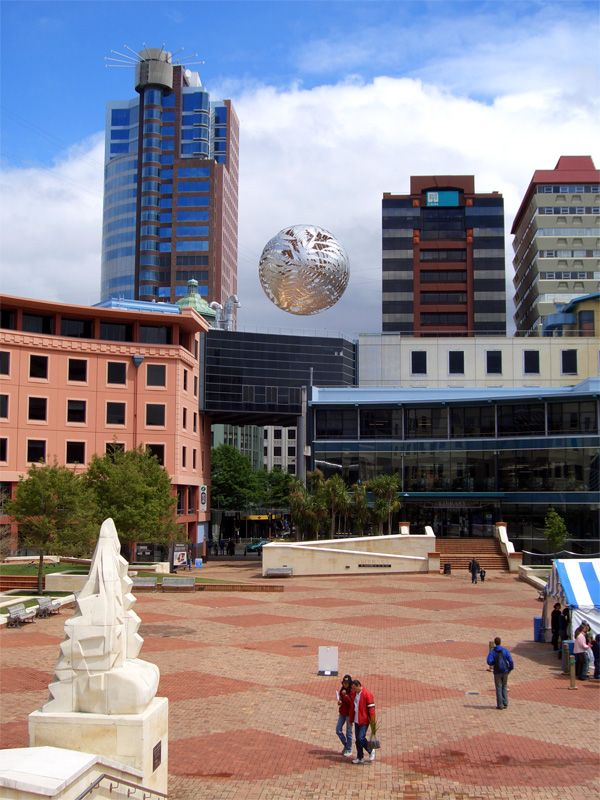 Civic Square, Wellington, New Zealand - the building on the right with the red roof is where PikPok lives!