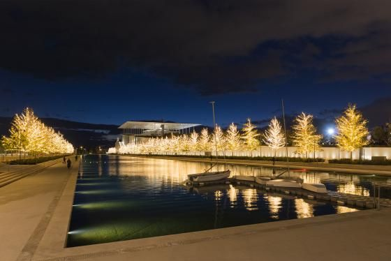 Visit Greece | Christmas lights on at the SNFCC!  #visitgreece #greece #events #icerink