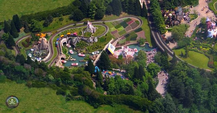 #Disneyland Paris. Fantasyland seen from the sky air with a view of Story Book Land boat ride and the Casey Jr train #DLP #DLRP #Disney