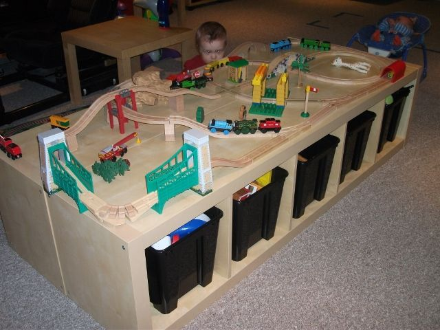 Bookshelf Storage Chest Kids Toy Box Plastic Play Room: Train Table Made With IKEA Expedit Shelves X 2 @ 69.99