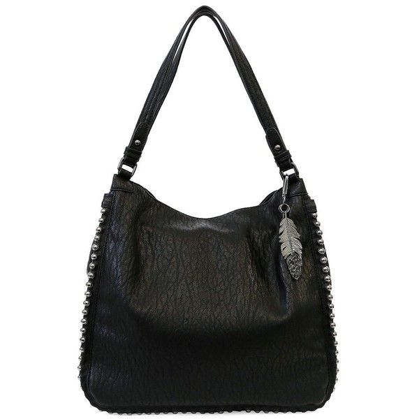 Jessica Simpson Women's Camile Studded Tote ($59) ❤ liked on Polyvore featuring bags, handbags, tote bags, blush, studded purse, studded tote bag, studded tote, pocket tote and pvc tote bag