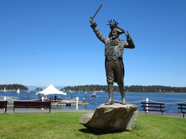 This bronze statue of former mayor Frank Ney dressed as a pirate stands in Maffeo Sutton Park in Nanaimo, British Columbia, Canada. Ney and cronies profited greatly from the real estate boom of the 1970s.