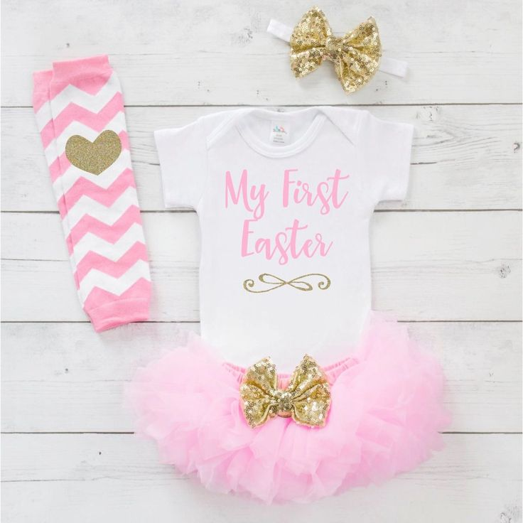 Baby Girl Easter Outfit Set - Your little girl will be sparkling in style with this adorable 4-piece Easter outfit. It also makes a great photo prop! We at Bump and Beyond Designs love to help you cel