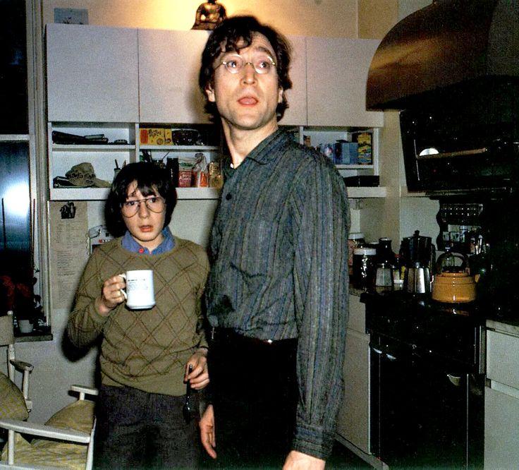 John Lennon & Julian Lennon drinking coffee