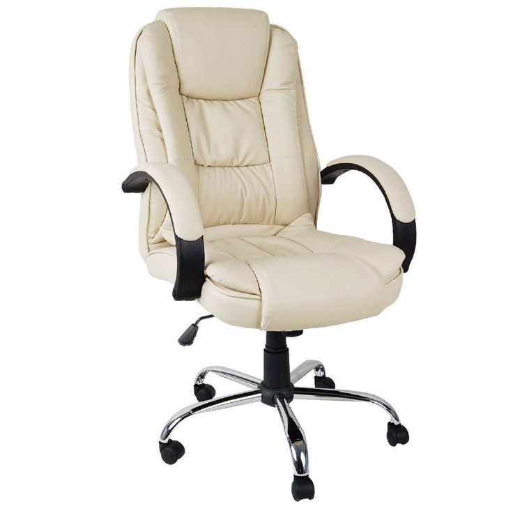 Executive PU Leather Office Computer Chair Beige Home Comfort Seat Work Desk New  #office #officechair #desk #officefurniture #furniture