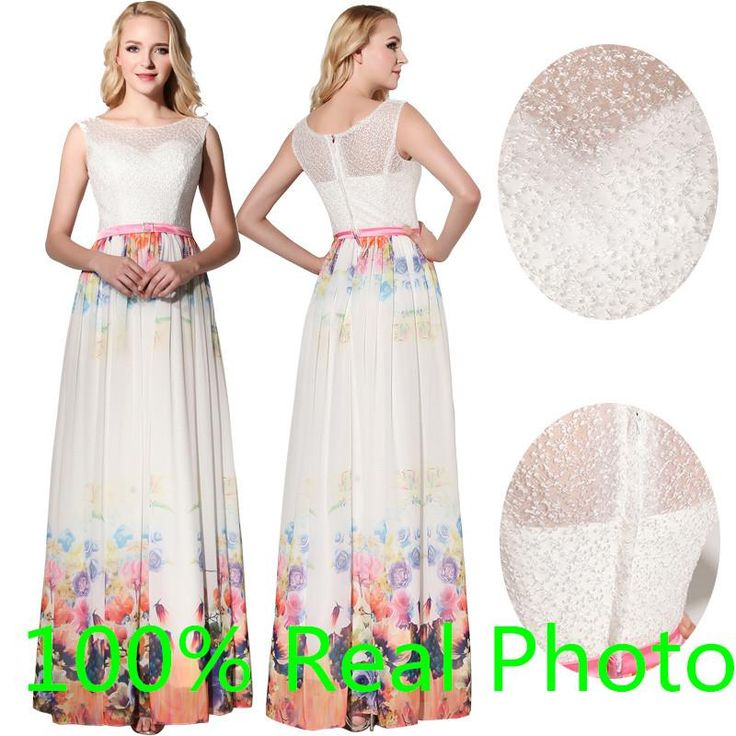 New Arrival White Print Flower Chiffon Summer Holiday Beach Party Formal Prom Dresses 2016 Sheer Neck Elegant Soft Occasion Cheap Gown Gown Party Long Evening Dresses Online From Gaogao8899, $70.36| Dhgate.Com