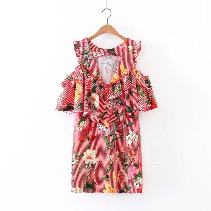 Euro 12,99 . estate casual boho stampa floreale a strisce beach dress sexy spalle mini abiti  z225mini abiti