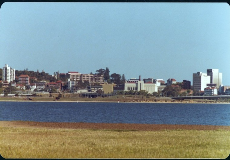 Emu Brewery, Parliament House and view of Perth from across Swan River, Perth, 1980