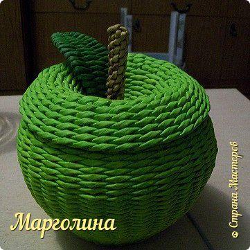 Мастер-класс Поделка изделие Плетение Как я плету крышечку для шкатулки Яблоко +листочек Небольшой МК Трубочки бумажные фото 1