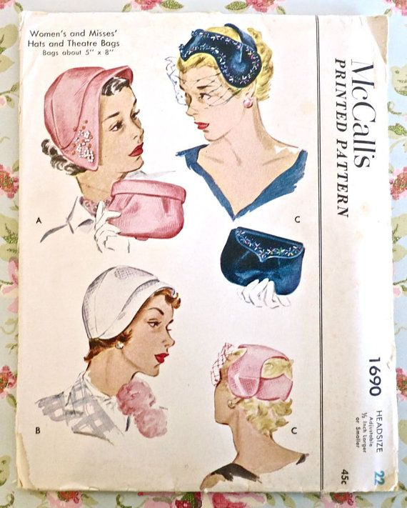 McCalls 1690 Vintage 1950s Womens Hats and Purses by Fragolina