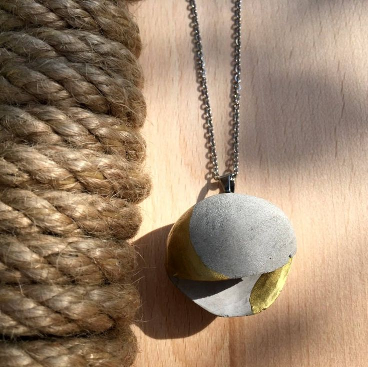 """Concrete necklace """"Ding Dong"""", handmade jewelry, charm  concrete, stainless steel, modern Jewelry, big pendant by MakyBeton on Etsy"""