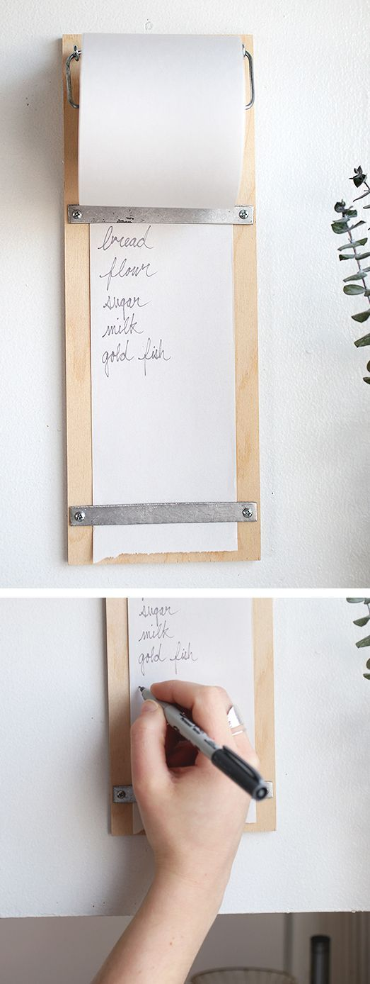 Mount this DIY shopping list in a convenient kitchen nook for easy access.