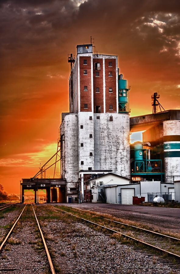 Grain terminal at sunrise in Saskatoon, Saskatchewan, Canada | by Scott Prokop, via 500px