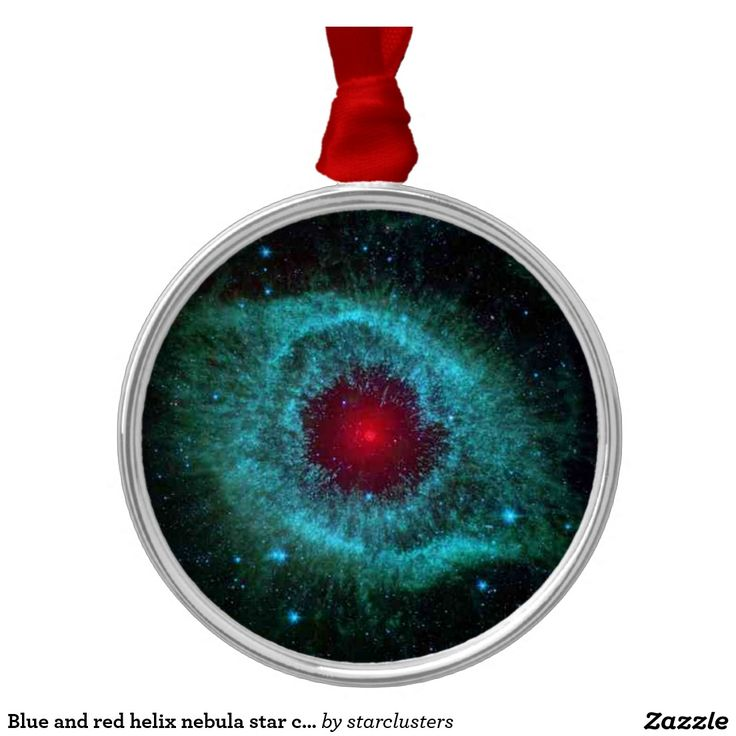Blue and red helix nebula star cluster round metal christmas ornament