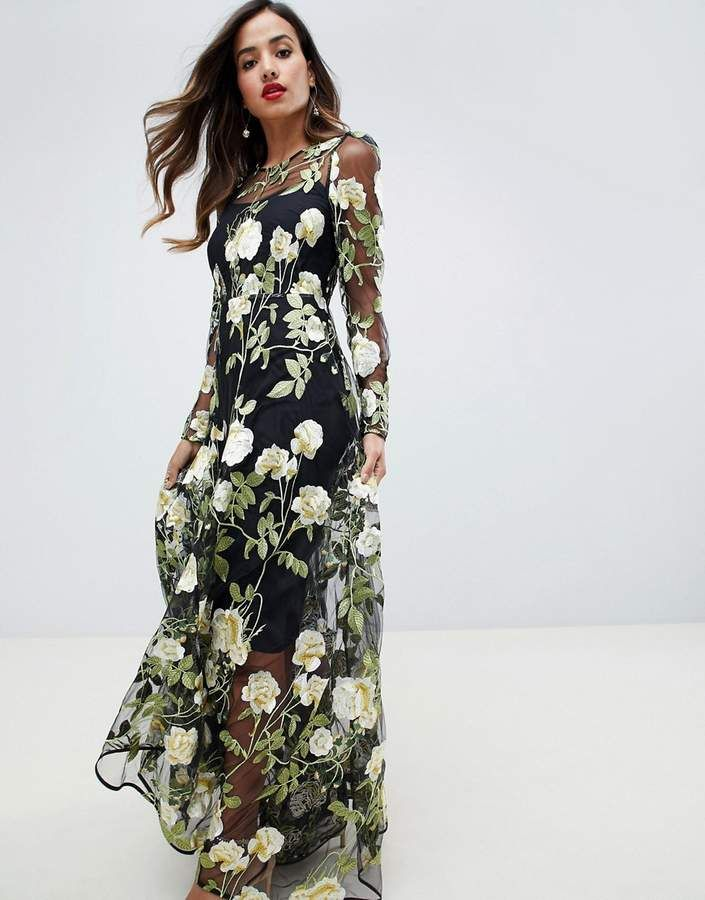 825b73eae3bdb8 Asos Edition ASOS EDITION floral embroidered maxi dress with cutabout skirt   ad  dress  maxidress  asos