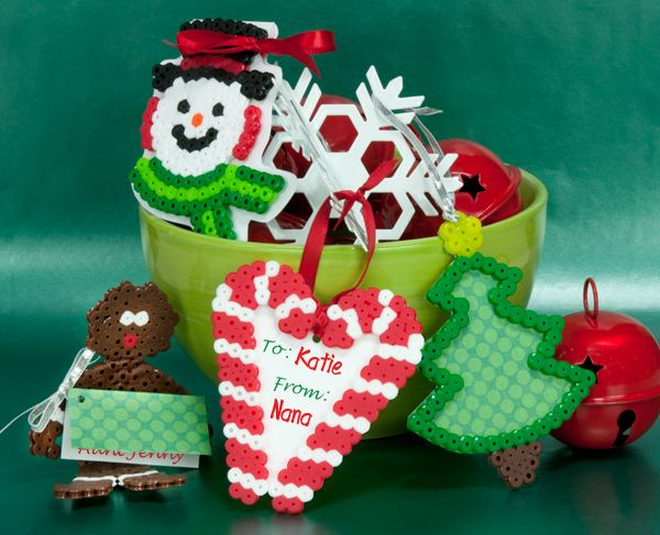 Create gift tags for your holiday gifts that can then be used on the tree! These fun tags are easy to make with Perler Beads and are projects the whole family can enjoy together.
