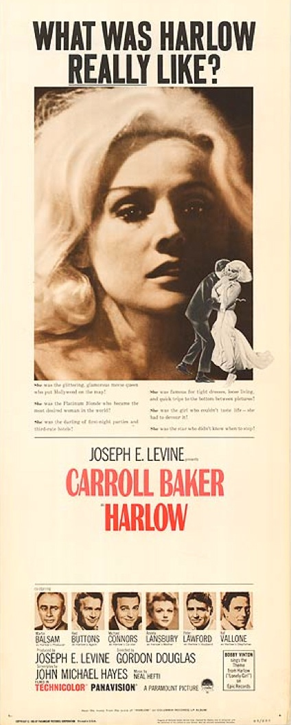 HHARLOW (1965) - Carroll Baker - Martin Balsam - Red Buttons - Michael Connors - Angela Lansbury - Peter Lawford - Raf Vallone - Produced by Joseph E. Levine - Directed by Gordon Douglas - Paramount - Movie Poster