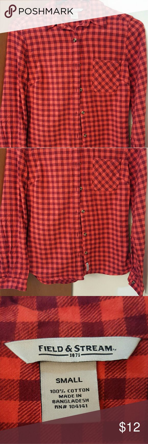 Ladies flannel shirt Red and black plaid, ladies soft flannel, long sleeve,  button down and sleeve shirt.  Excellent condition field and stream Tops Button Down Shirts