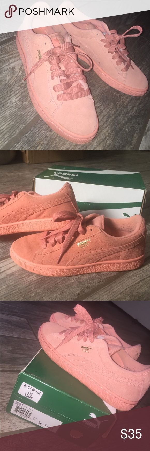 Puma Suede Classic Desert flower classic suede Pumas, junior size 7 US but fits women's size 8. Barely worn, great condition. Puma Shoes Sneakers