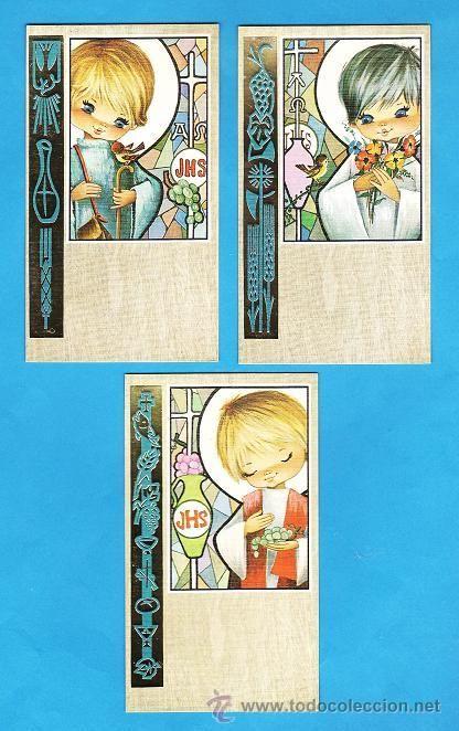 estampa primera comunion / recordatorio - dib.s/datos - col.de 3 - ed. cyz - r- 5076 - años 60/70 - Foto 1