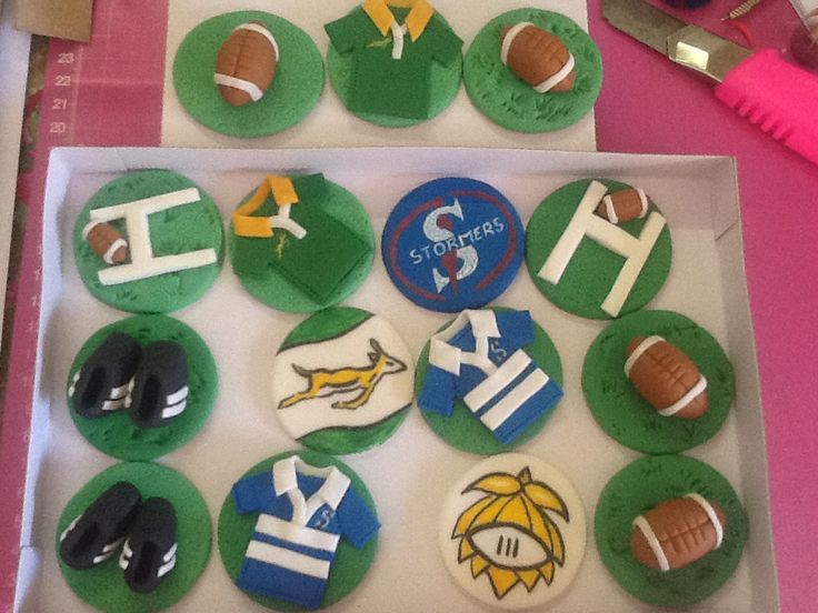 Rugby cupcake toppers