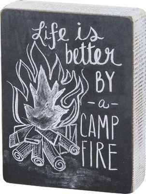 Item # 24031 | Chalk Sign - Campfire | Primitives by Kathy