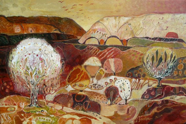"""""""Big Country: The Sound that  Shapes the Silence"""" by Sandipa - mixed media on canvas, 112 x 168 cm"""
