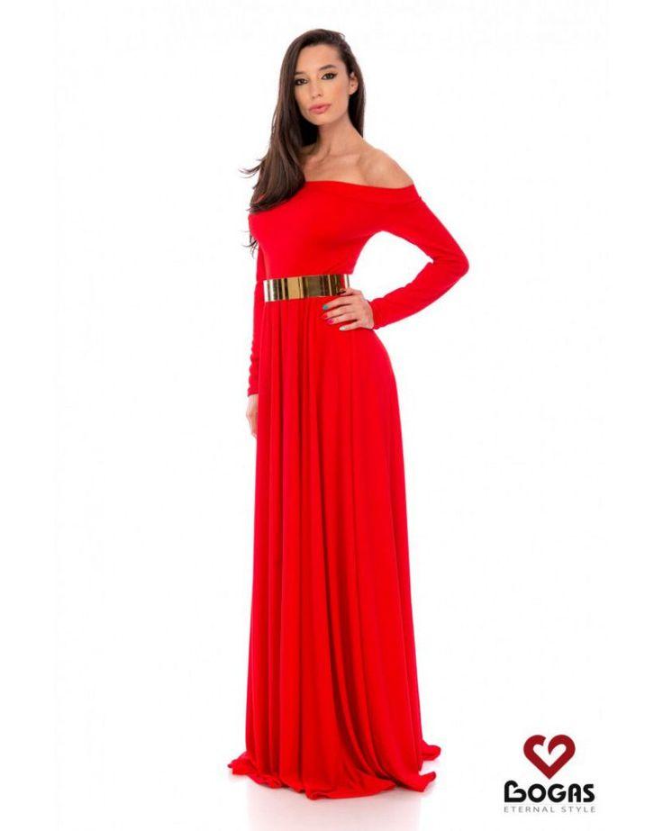 rochie lunga rosie - rochii de seara lungi la reducere